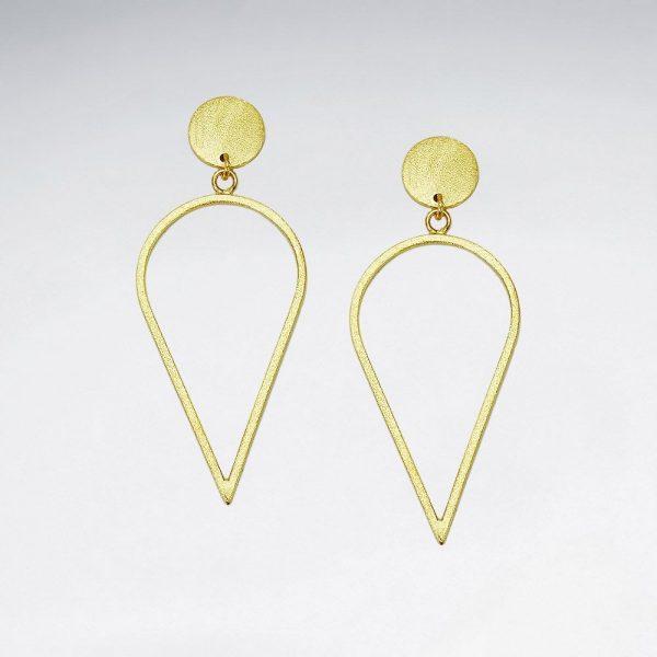 Boucles D oreilles Ajourées Forme Larme En Argent 925 plaque or SE2518MY