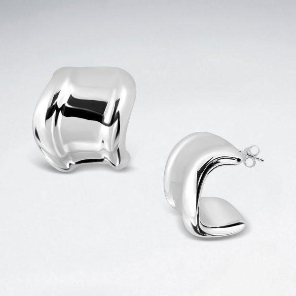 Boucles oreilles Anneaux Angulaires Argent Massif SE2819