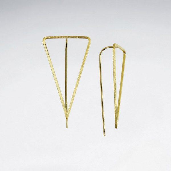 Boucles oreilles Triangle Ajouré Argent 925 Plaque or SE2512MY