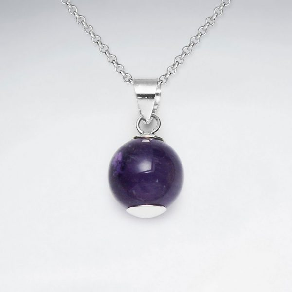 12 mm round amethyst silver pendant p2144 7786 zoom