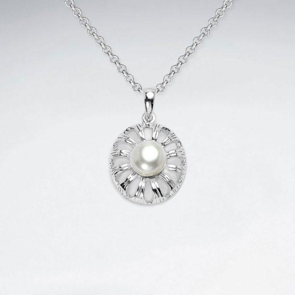 Pendentif Argent Fleur Perle Culture Ronde