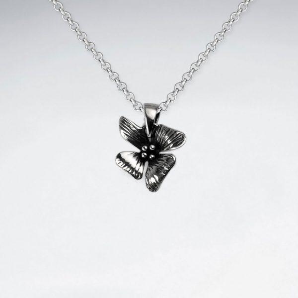 Pendentif Argent Oxydé Fleur Hawaïen