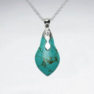 Pendentif Argent Pierre Vert Turquoise