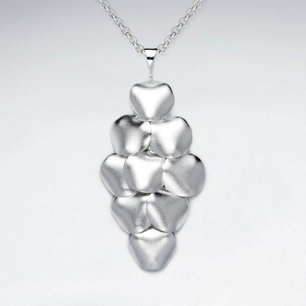 Pendentif Argent Sablée Forme de Diamant