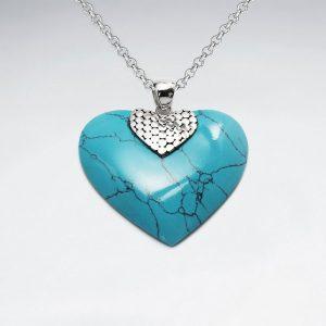 Pendentif Coeur Bleu Turquoise Avec Attache Argent