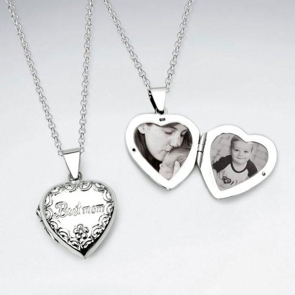 Pendentif Médaillon en Argent forme Coeur « La meilleure maman »