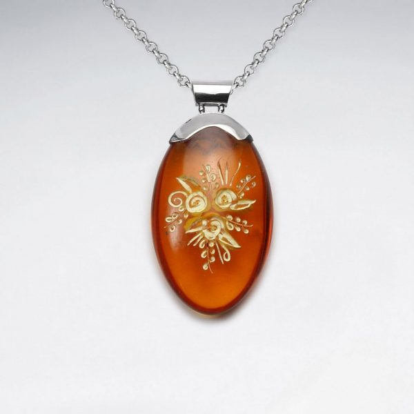 imitation amber floral etchings oval pendant p4642 13173 zoom