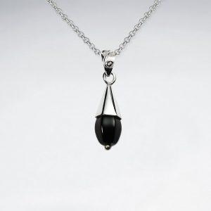 Pendentif Pierre Noire élégante Cloche en argent