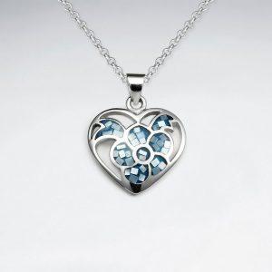 Pendentif en Argent en forme de Coeur Coquillage Bleu