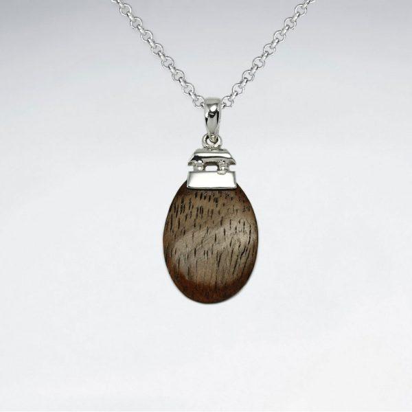 Pendentif en Bois Ovale marron
