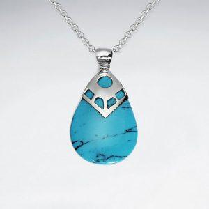 Pendentif en forme de goutte Howlite Blue Turquoise
