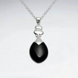 drop black stone silver pendant p2096 7751 zoom