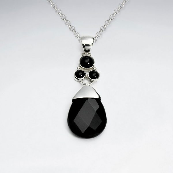 drop faceted black stone silver pendant p2074 7688 zoom
