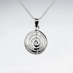 labyrinthine maze pattern polished silver round circle pendant p803 6189 zoom
