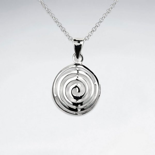 labyrinthine maze pattern polished silver round circle pendant p803 6189 zoom