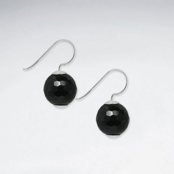14 mm round faceted black stone dangling silver earring p1845 7247 zoom