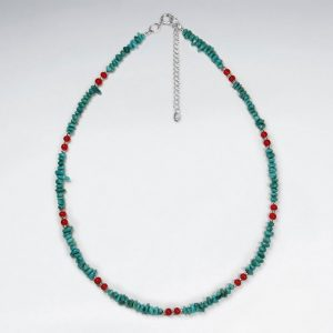 16 5 adjustable beautiful sterling silver necklace with turquoise bead embellishments p2922 8127 zoom