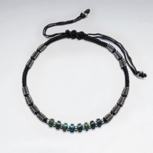 7 adjustable brown macrame waxed cotton bracelet with antique handmade silver beads and turquoise p2756 8493 zoom