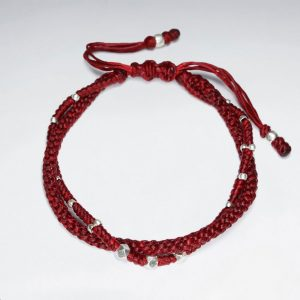 7 adjustable multi strands red macrame waxed cotton bracelet with antique handmade silver beads p2762 8499 zoom