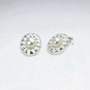 925 sterling silver pearl centered flower stud earrings p5920 16902 zoom