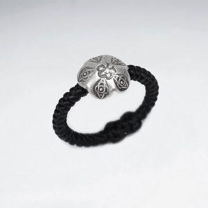 Bague Coton Ciré Noir avec Perle Argent