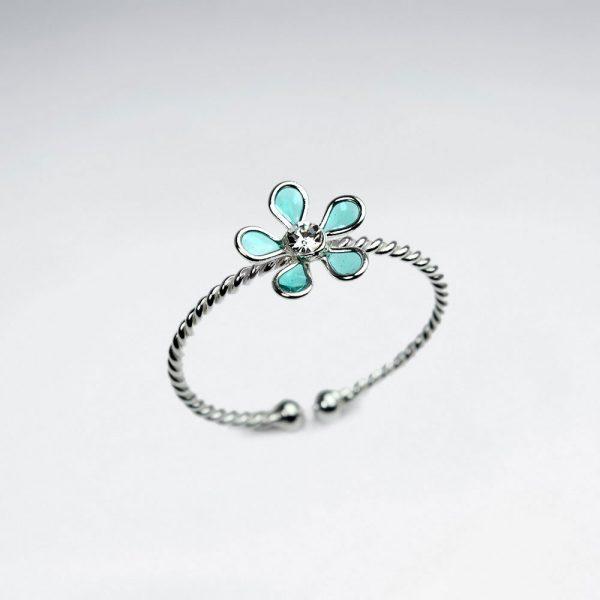 Bague en Argent Emaille Fleur Cinq Petales Vert
