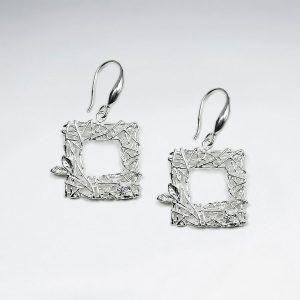 Boucle d'Oreille Argent Carré Ouvert Ornées de Zircon Cristal