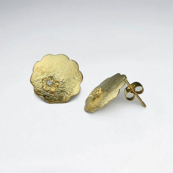 Boucle d'Oreille Argent Cercle Festonnée Plaqué Or 18 Carat