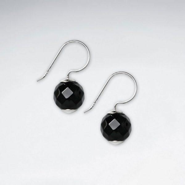 Boucle d'Oreille Argent Pierre Noire Facettes a Facette Ø 10 mm