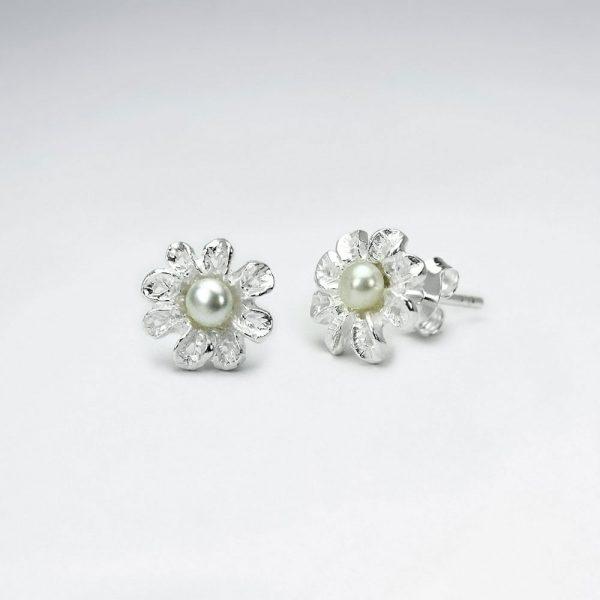 Boucles d'Oreilles Fleur avec Perle Synthétique