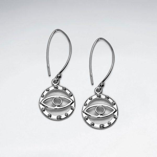Boucles d'Oreille en Argent Oeil Illuminati Rhodium