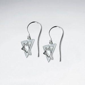 Boucles d'Oreilles Argent Crochet Triangles 3D