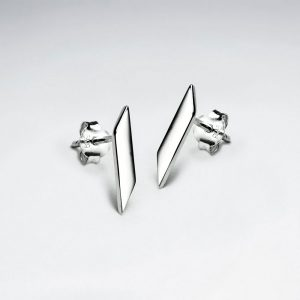 Boucles d'Oreilles Argent Rectangle Minimalisme