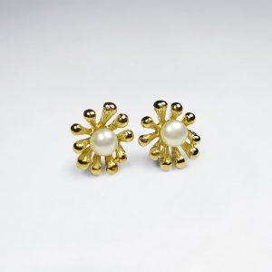 Boucles oreilles Argent Perle Clouté Fleur Plaqué Or