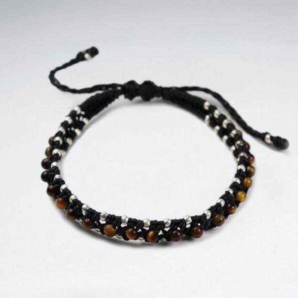 Bracelet Coton Ciré Macramé Double Cordon avec Oeil du Tigre et Perles d'Argent