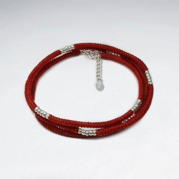 Bracelet Coton Ciré Macramé avec motif et Perles Argent Rouge
