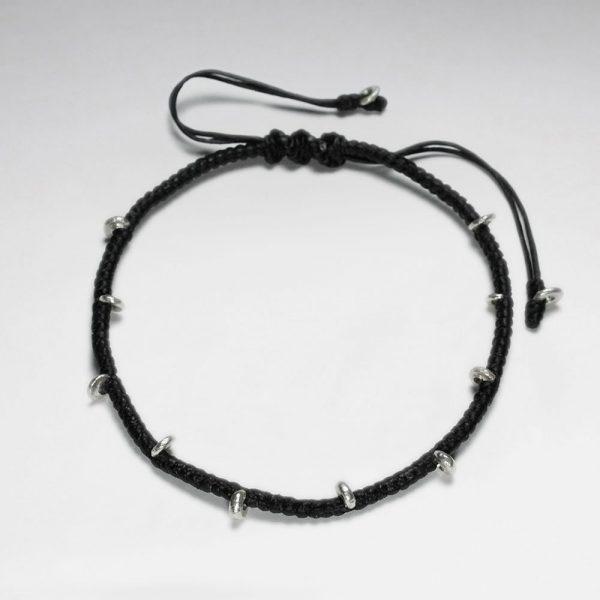 Bracelet Coton Ciré Macramé avec Perles Argent Antique