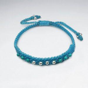 Bracelet Coton Ciré Macramé avec des Perles d'Argent Turquoise