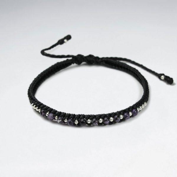 Bracelet Coton Ciré avec Améthyste et Perles d'Argent