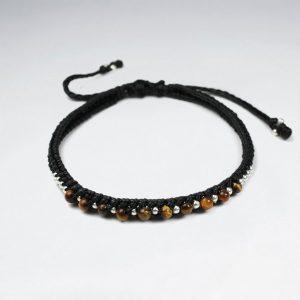 Bracelet Coton Ciré avec Oeil du Tigre et Perles d'Argent