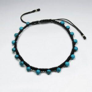Bracelet Coton Ciré avec Perle Bleu Turquoise