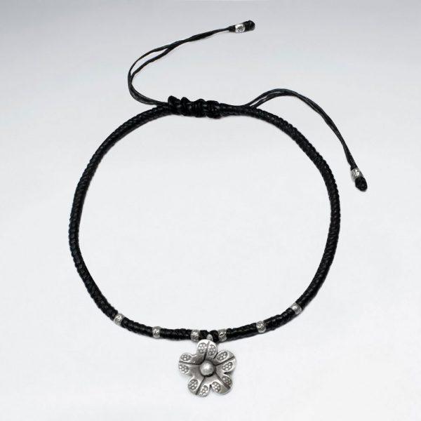Bracelet Coton Ciré avec Perles d'Argent Texturé Fleur