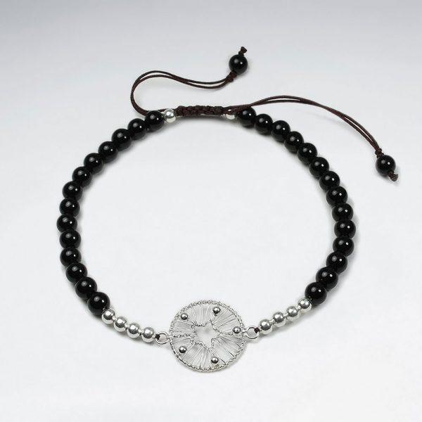 Bracelet Coton Ciré avec Perles d'Argent et Cercle étoiles Ajourée