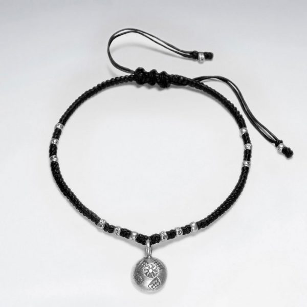 Bracelet Coton Ciré Macramé avec Pendentif en Argent