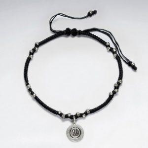 Bracelet Coton Ciré Macramé avec Pendentif en Argent Yin & Yang
