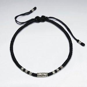 Bracelet Coton Ciré Macramé avec Perles Tube Argent
