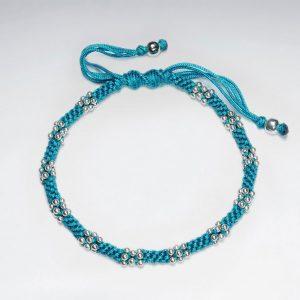 Bracelet Coton Ciré Macramé avec Perles d'Argent