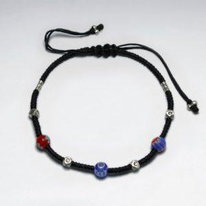 Bracelet Coton Ciré Macramé avec Perles de Verre