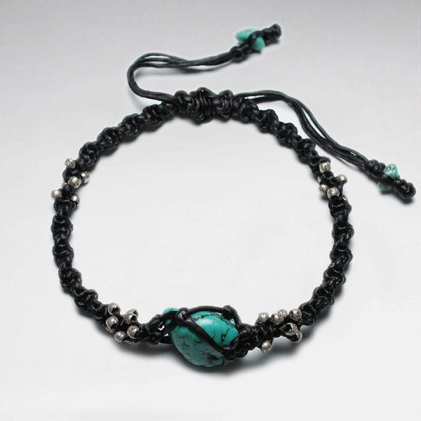 Bracelet Coton Ciré Macramé avec Perles en Argent Faits à la Main et Pierre Turquoise