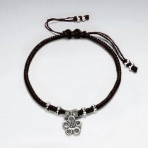 Bracelet Coton Ciré avec Perle Argent Fleur
